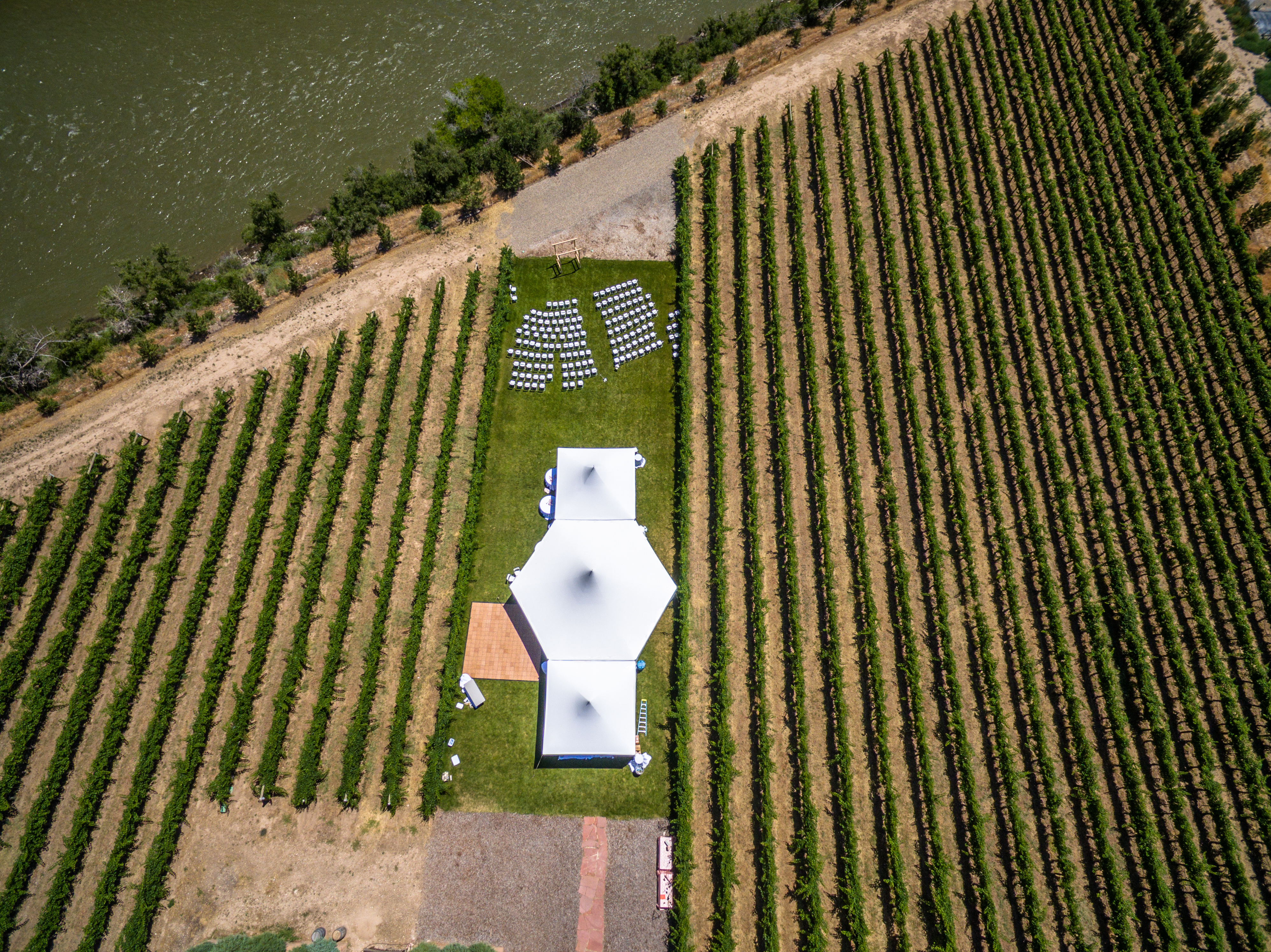 Aerial/Drone Photo of a Wedding Venue on a Colorado Vineyard.